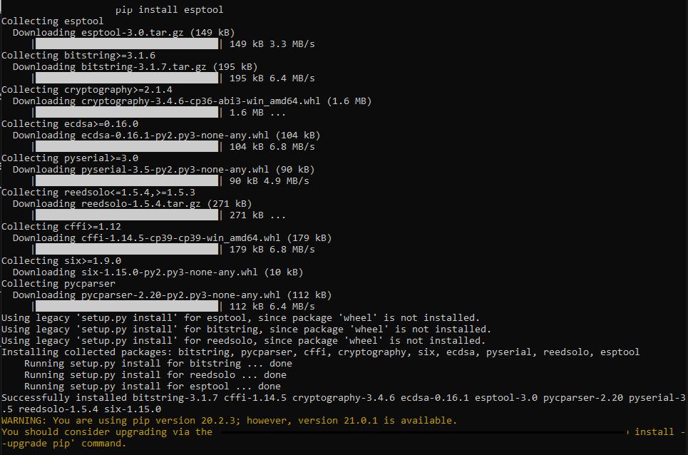 pip install esptool command output